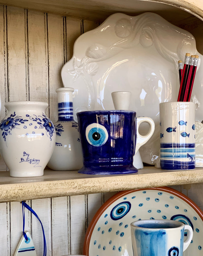 ceramic vase with blue and white