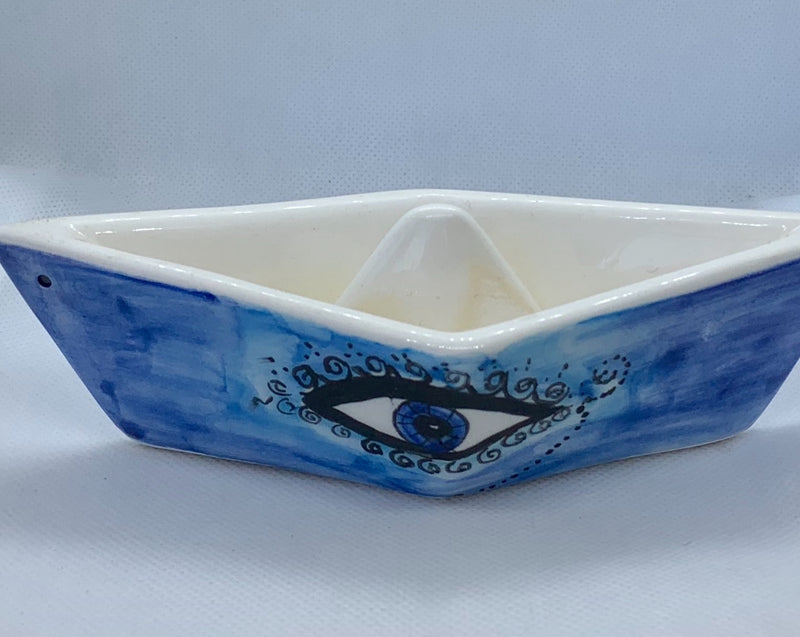 Decorative Ceramic Boat with Evil Eye