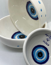 Load image into Gallery viewer, set of ceramic bowls with evil eye painted