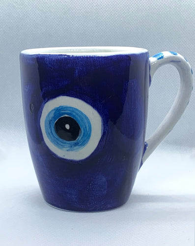 blue evil eye ceramic mug for coffee