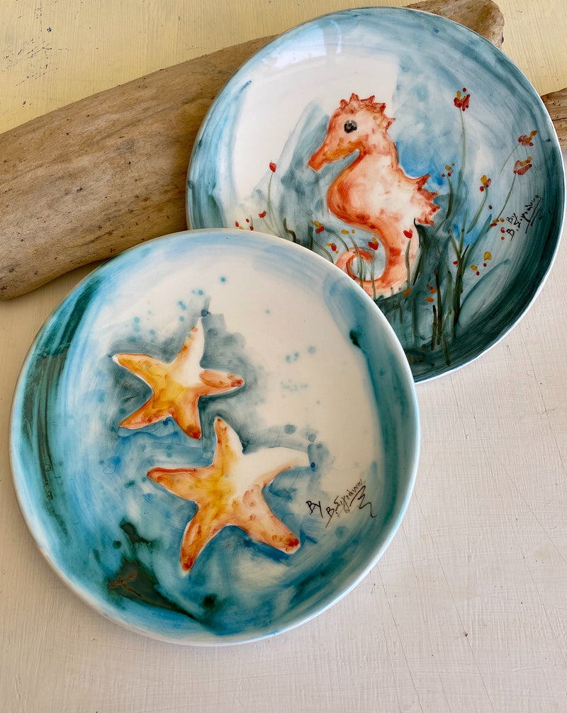 Hand painted seahorse plate