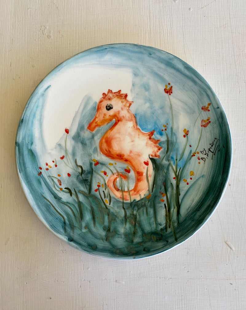 ceramic plate with seahorse