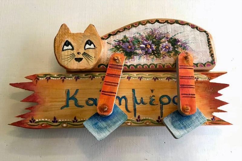 yellow orange wooden decorative hand painted cat