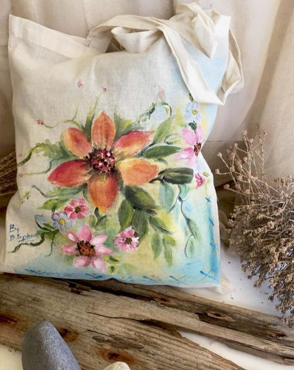 Hand-Painted Tote bag with Flowers