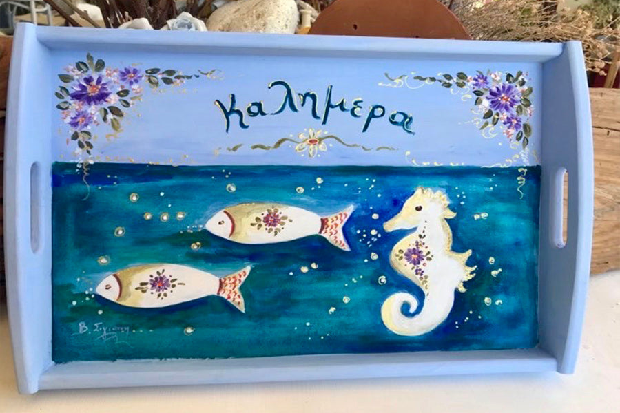 Marine Hand Painted Wooden Tray