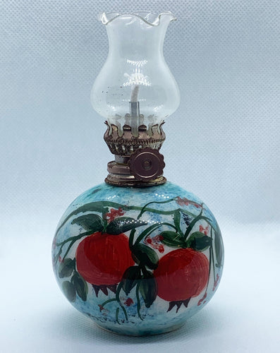 ceramic oil lamp with pomegranates