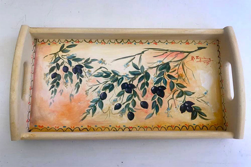 Hand-painted Wooden Tray with Olives
