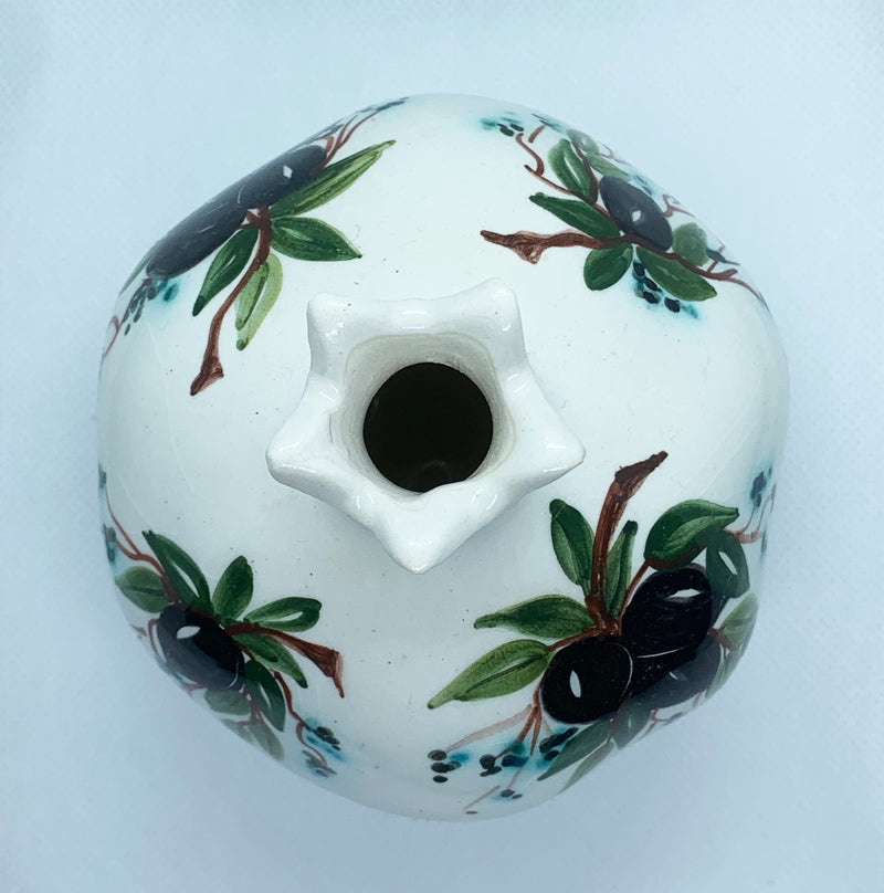 white pomegranate shape with black and green colours