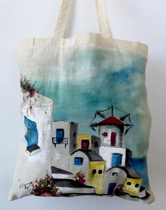 Santorini Hand-Painted Shopping Bag