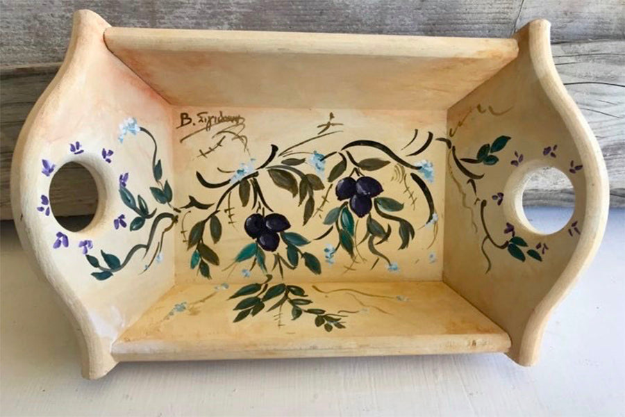 Hand-Painted Wooden Bread Basket