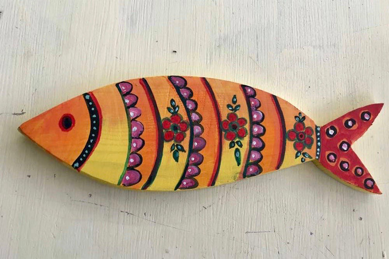 Yellow Wooden Decorative Fish