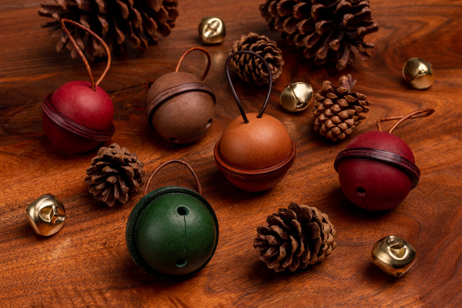 Leather Bell Tree Ornament - (Brown)