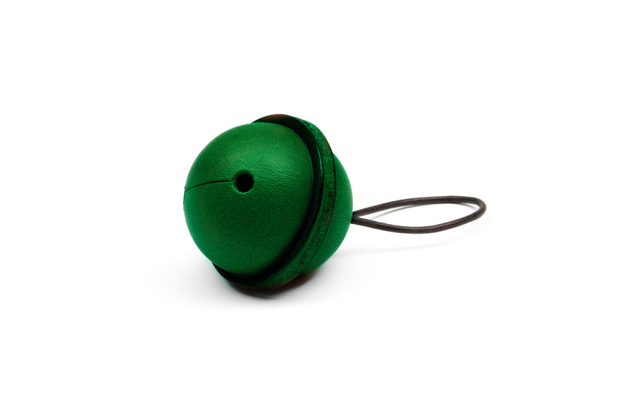 Leather Bell Tree Ornament - (Green)