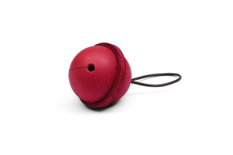 Leather Bell Tree Ornament - (Red)