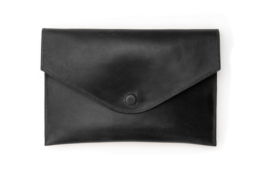Leather Clutch - 10 Inch Magnetic Clutch - (Black Buttero)
