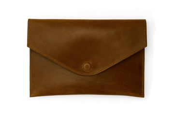Leather Clutch - 10 Inch Magnetic Clutch - (Brown Buttero)