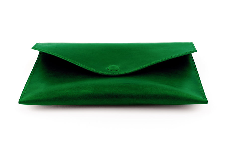Leather Clutch - 10 Inch Magnetic Clutch - (Green Buttero)