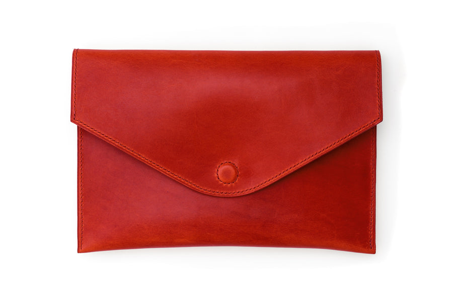 Leather Clutch - 10 Inch Magnetic Clutch - (Red Buttero)