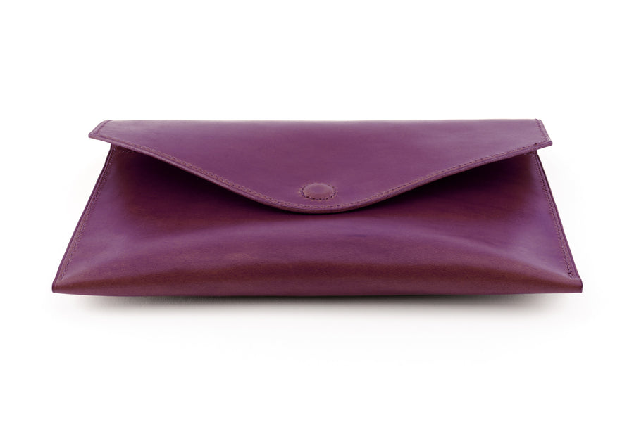 Leather Clutch - 10 Inch Magnetic Clutch - (Violet Buttero)