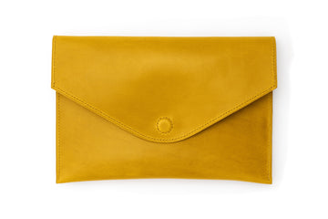 Leather Clutch - 10 Inch Magnetic Clutch - (Yellow Buttero)