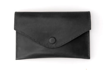 Leather Clutch - 7 Inch Magnetic Clutch - (Black Buttero)