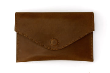 Leather Clutch - 7 Inch Magnetic Clutch - (Brown Buttero)