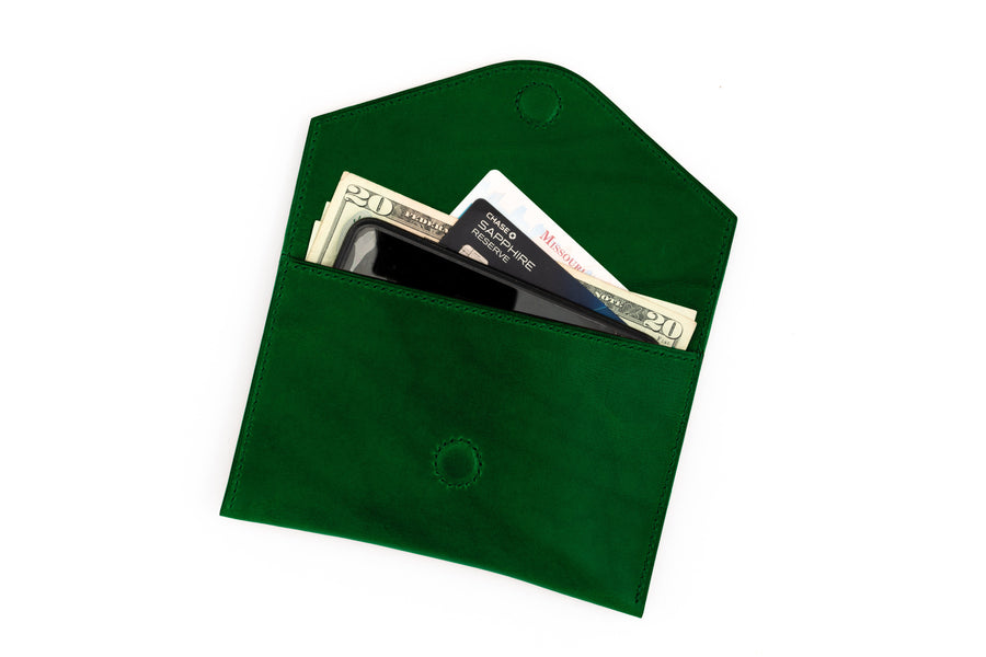 Leather Clutch - 7 Inch Magnetic Clutch - (Green Buttero)
