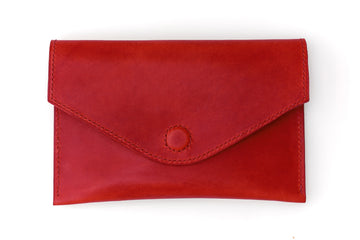 Leather Clutch - 7 Inch Magnetic Clutch - (Red Buttero)
