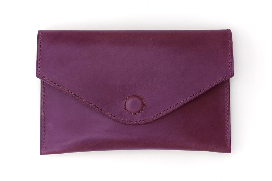 Leather Clutch - 7 Inch Magnetic Clutch - (Violet Buttero)