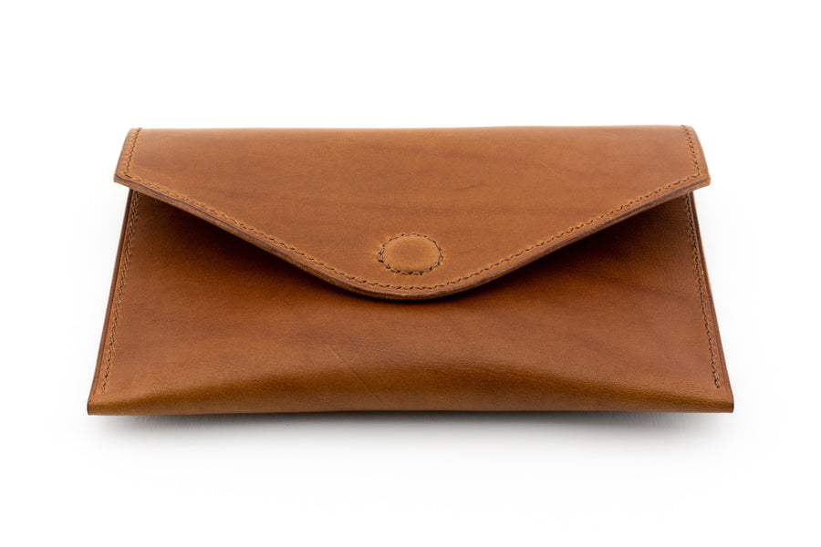 Leather Clutch - 7 Inch Magnetic Clutch - (Whiskey Buttero)