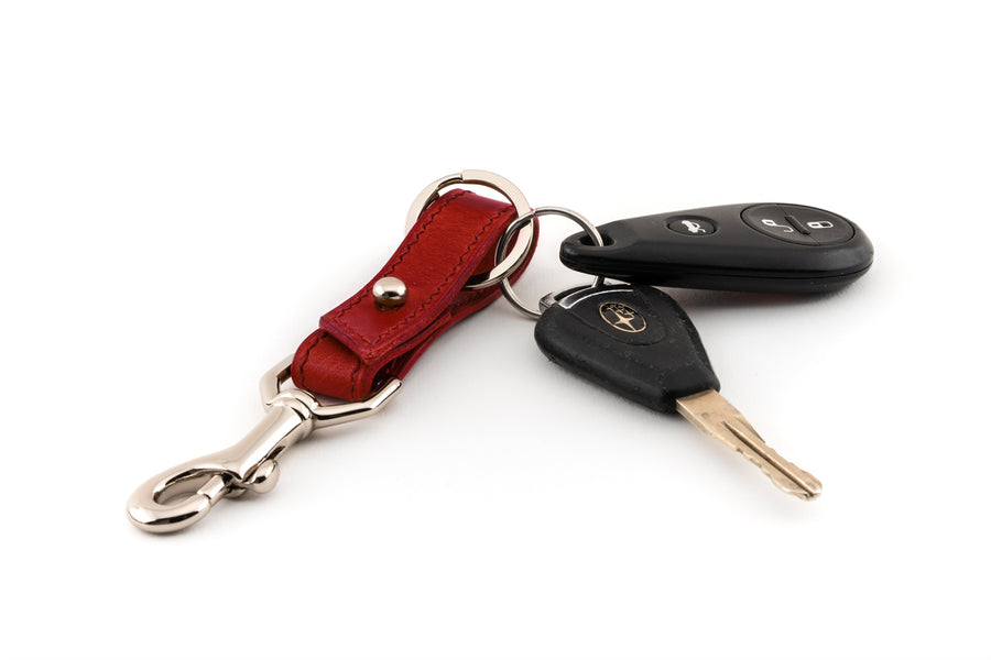 Leather Key Fob - (Red Buttero)