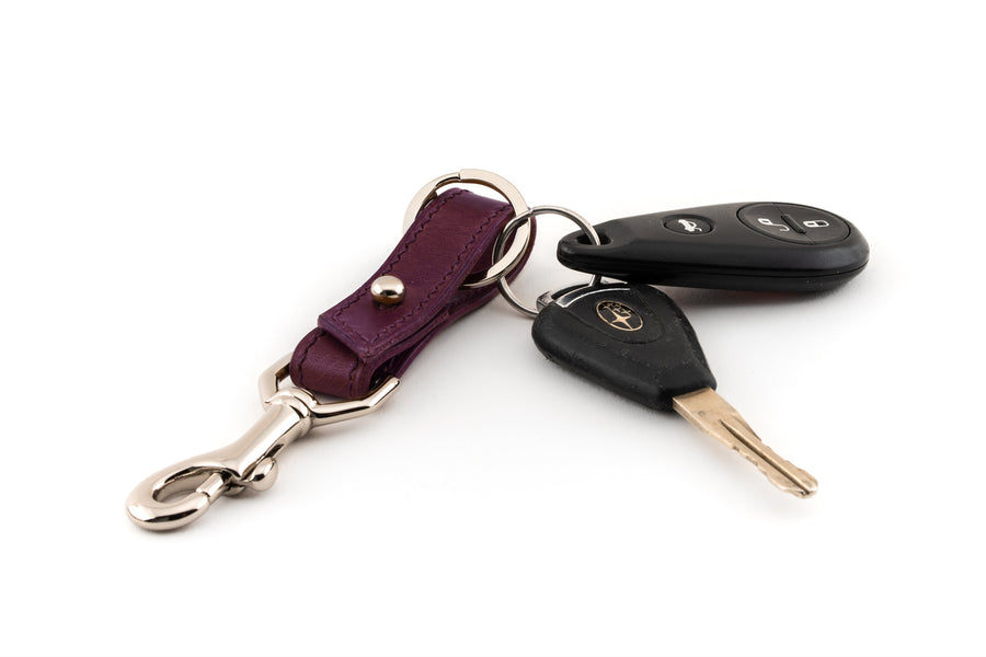 Leather Key Fob - (Violet Buttero)