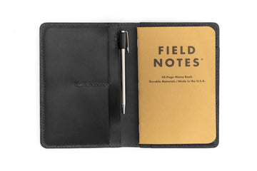 Leather Notebook Holder - Notebook & Passport Holder - (Black Buttero)