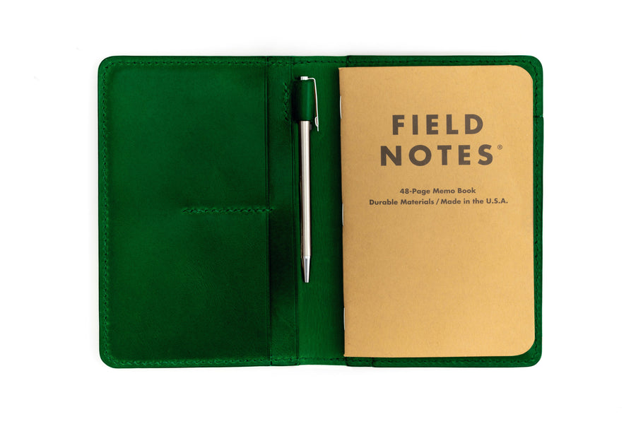 Leather Notebook Holder - Notebook & Passport Holder - (Green Buttero)