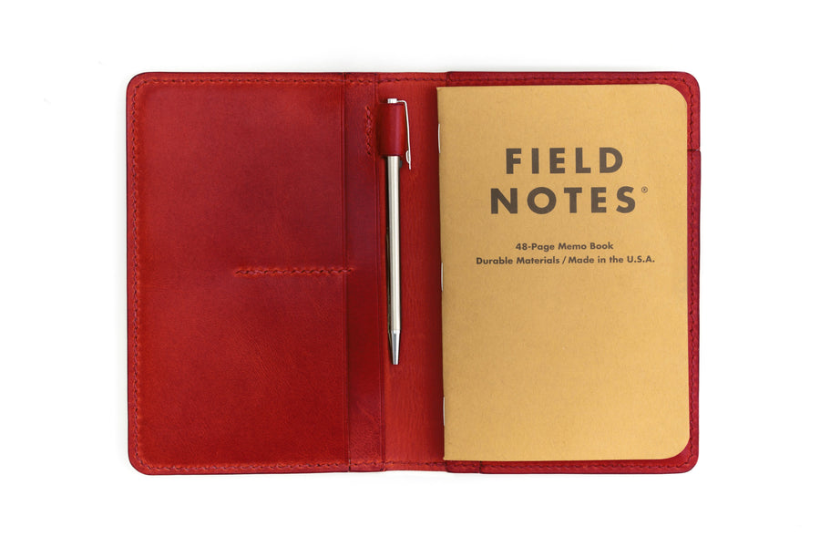 Leather Notebook Holder - Notebook & Passport Holder - (Red Buttero)