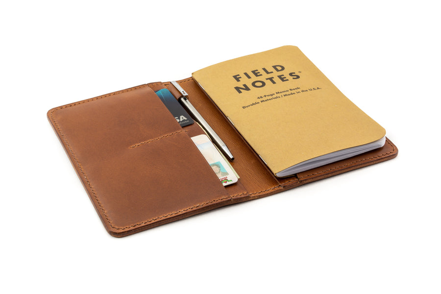 Leather Notebook Holder - Notebook & Passport Holder - (Whiskey Buttero)