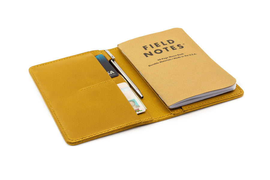 Leather Notebook Holder - Notebook & Passport Holder - (Yellow Buttero)