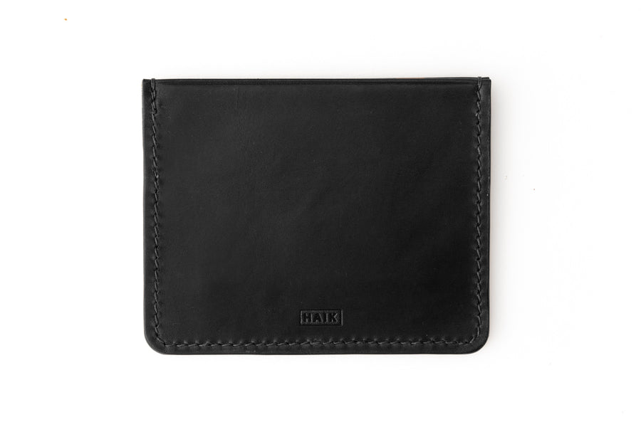 Leather Wallet - 4 Slot Card Case - (Black Buttero)