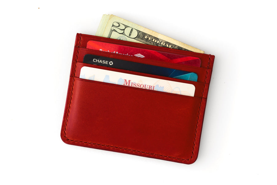 Leather Wallet - 4 Slot Card Case - (Red Buttero)