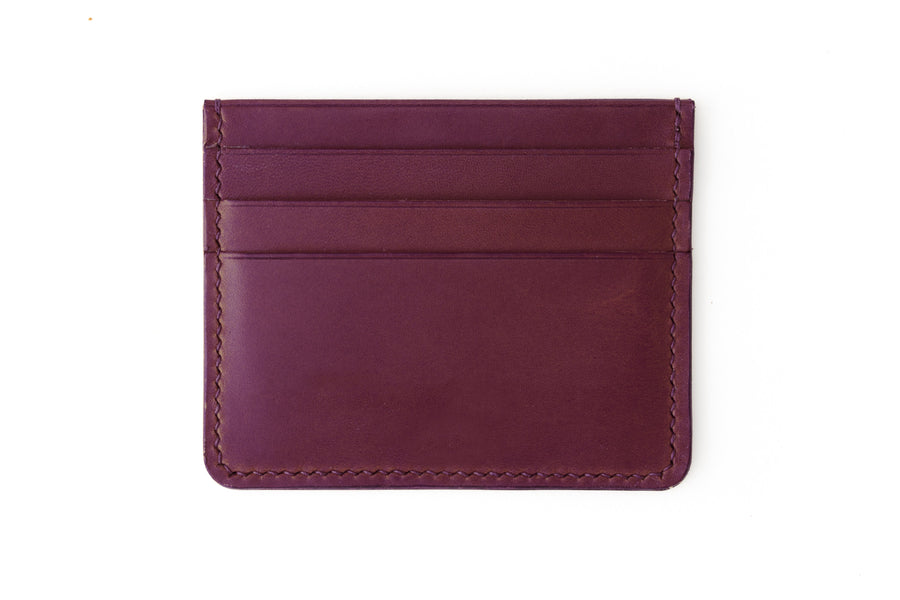 Leather Wallet - 4 Slot Card Case - (Violet Buttero)