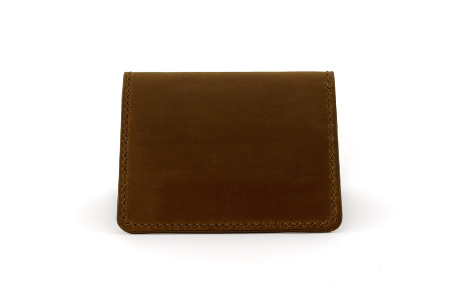 Leather Wallet - 6 Slot Folding Card Wallet - (Brown Buttero)