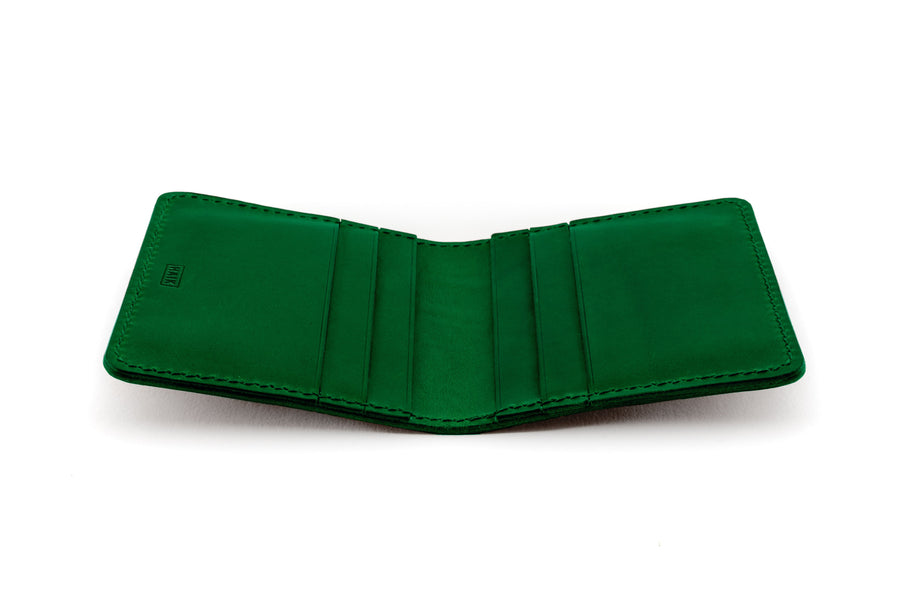 Leather Wallet - 6 Slot Folding Card Wallet - (Green Buttero)