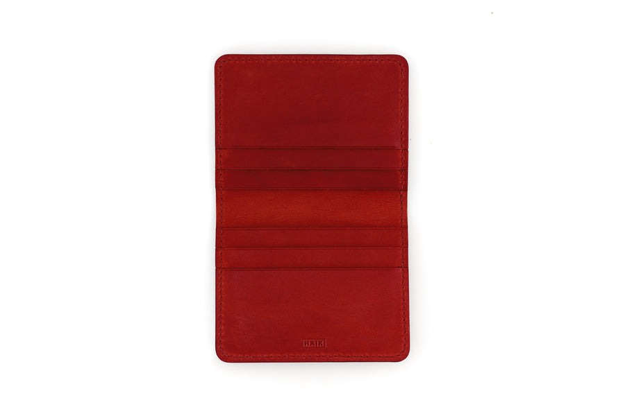 Leather Wallet - 6 Slot Folding Card Wallet - (Red Buttero)