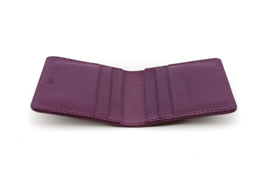 Leather Wallet - 6 Slot Folding Card Wallet - (Violet Buttero)