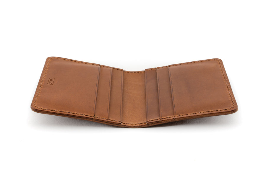 Leather Wallet - 6 Slot Folding Card Wallet - (Whiskey Buttero)