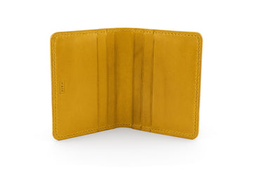 Leather Wallet - 6 Slot Folding Card Wallet - (Yellow Buttero)