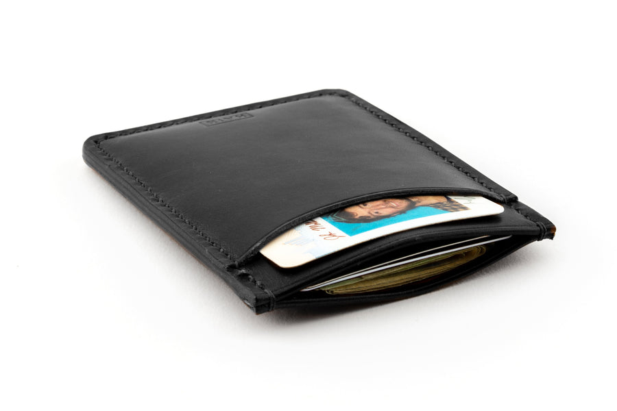 Leather Wallet - Card Holder - (Black Buttero)