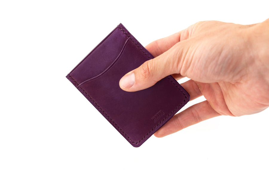 Leather Wallet - Card Holder - (Violet Buttero)