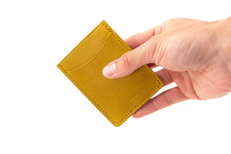 Leather Wallet - Card Holder - (Yellow Buttero)