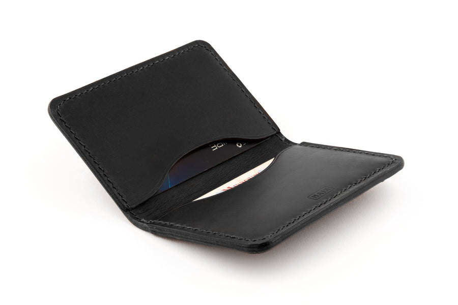 Leather Wallet - Folding Card Holder - (Black Buttero)